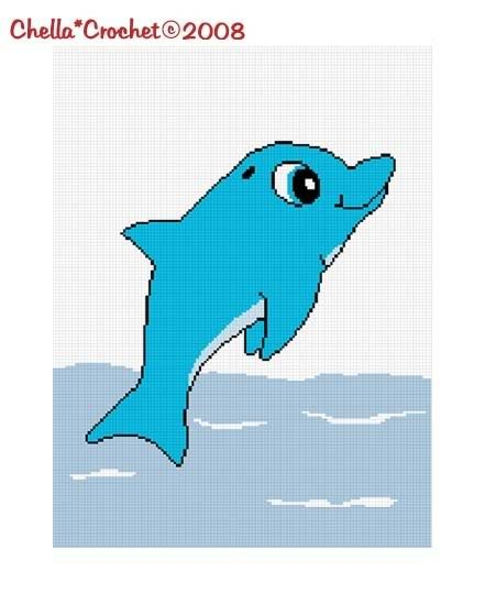 Jumping Baby Dolphin Afghan Crochet Pattern Graph