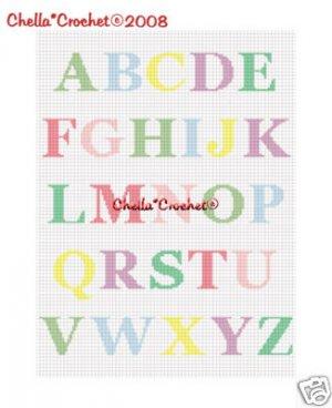 PASTEL ABC Alphabet Baby Afghan Crochet Pattern Graph