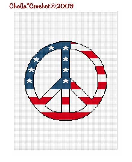 American Flag Peace Sign Afghan Crochet Pattern Graph
