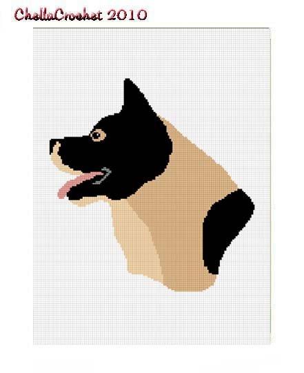 CHELLA*CROCHET AKITA INU DOG AFGHAN PATTERN GRAPH .PDF EMAILED