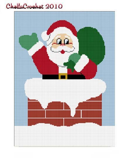 Chella Crochet Christmas Santa in Chimney Afghan Crochet Pattern Graph