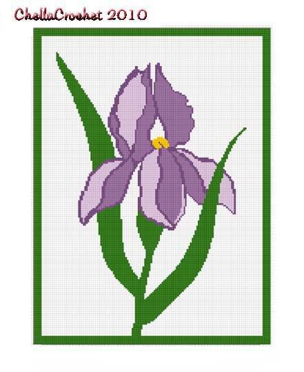 Chella Crochet Beautiful Purple Iris Afghan Crochet Pattern Graph