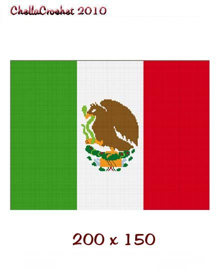 Chella Crochet Mexican Flag Mexico Afghan Crochet Pattern Graph