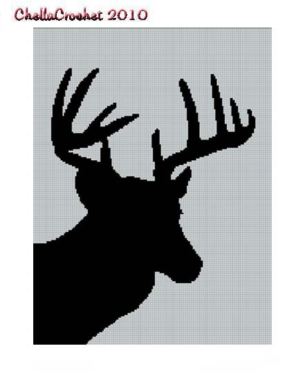 Deer Head Silhouette No. 2 Buck Stag Afghan Crochet Pattern Graph
