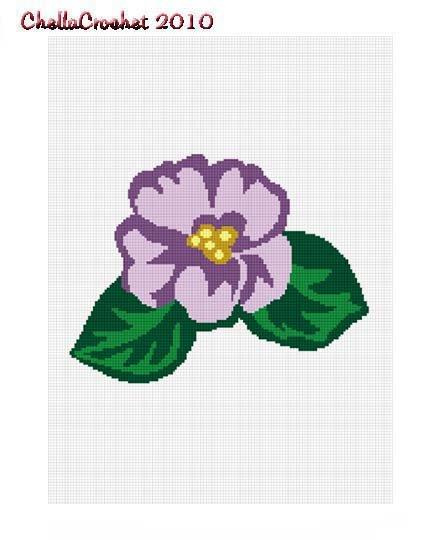 African Violet Flower Afghan Crochet Pattern Graph