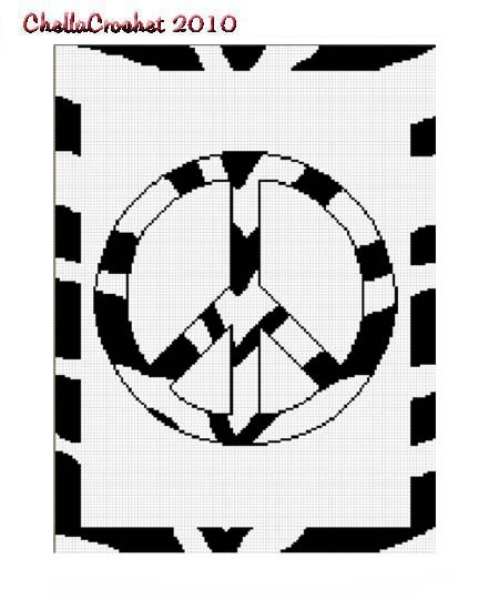 Chella Crochet Zebra Animal Print Peace Sign Crochet Pattern Graph