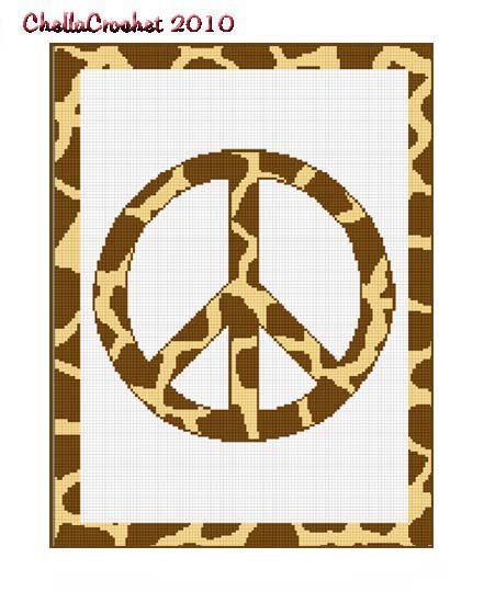 Chella Crochet Giraffe Animal Print Peace Sign Crochet Pattern Graph