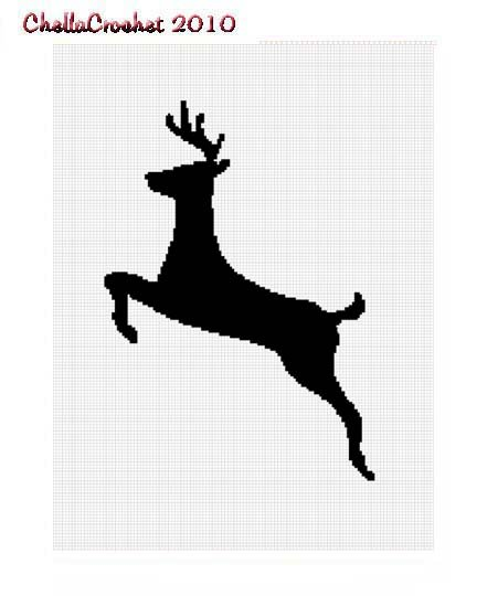 Chella Crochet Running Deer Silhouette Afghan Crochet Pattern Graph