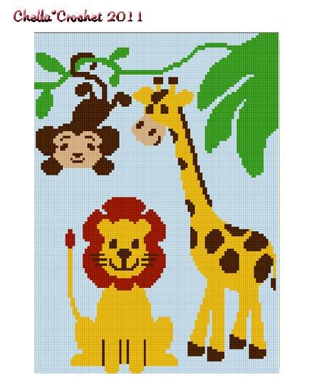 JUNGLE FRIENDS Giraffe Monkey Lion Safari Z00 Afghan Crochet Pattern Graph