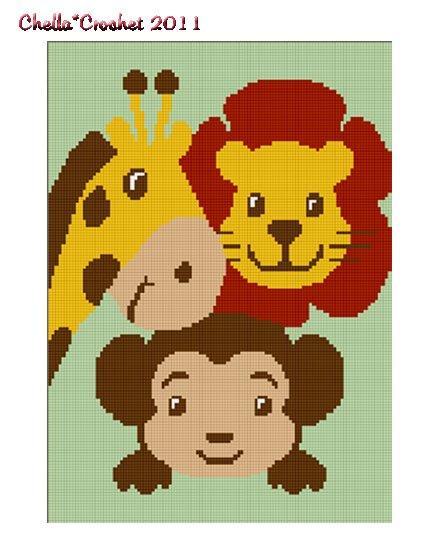 Monkey Giraffe Lion ZOO Jungle Safari Animal Afghan Crochet Pattern Graph