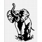 African Bull Elephant Silhouette Afghan Crochet Pattern Graph