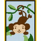 ZOO Jungle Safari Monkey in Jungle on Vine Afghan Crochet Pattern Graph