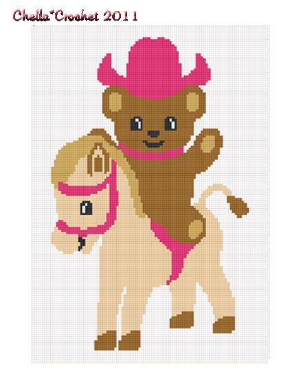 Cowgirl Teddy Bear Pony Afghan Crochet Pattern Graph