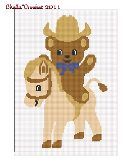 Cowboy Teddy Bear Pony Afghan Crochet Pattern Graph
