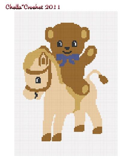 Teddy Bear Pony Horse Boy Afghan Crochet Pattern Graph