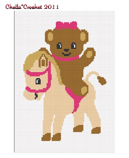 Teddy Bear Pony Horse Girl Afghan Crochet Pattern Graph