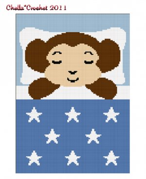 Monkey Sleeping Afghan Crochet Pattern Graph 100st Blue