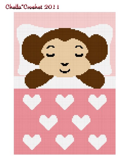 Monkey Sleeping Afghan Crochet Pattern Graph 100st Pink