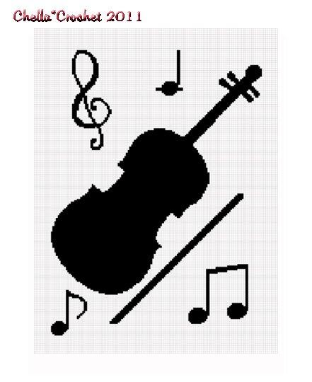 Chella Crochet Violin Musical Notes Music Crochet Afghan Pattern Graph