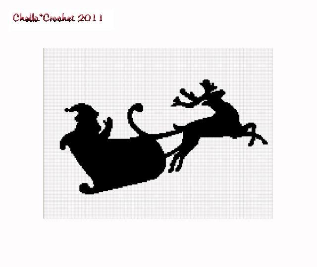 Chella Crochet Santa Claus Reindeer Sil Afghan Crochet Pattern Graph