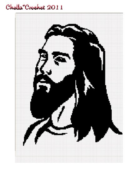 Jesus Christ Face Silhouette Christian Afghan Crochet Pattern Graph