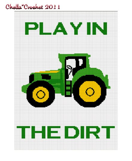 Play in the Dirt Tractor Afghan Crochet Pattern Graph