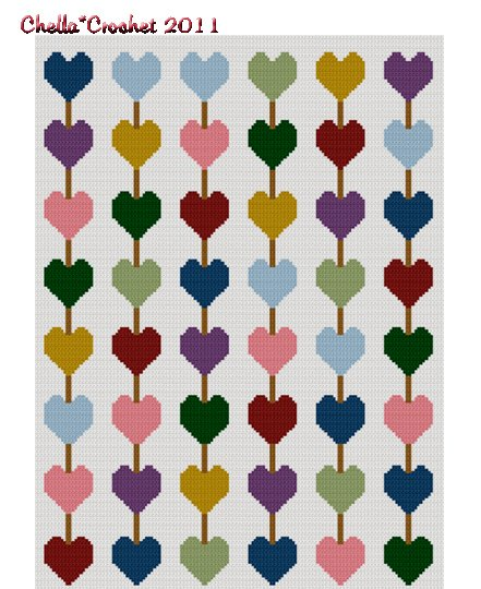 Chained Hearts Crochet Afghan Pattern Graph Use Scraps Leftover Yarn