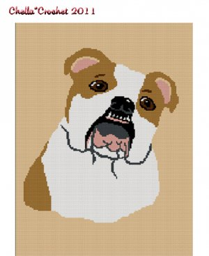 Chella Crochet English Bull Dog BullDog Afghan Crochet Pattern Graph