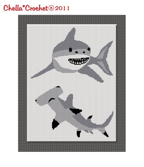 Buy 2 get 1 free Chella Crochet Shark Hammerhead Great White Afghan Crochet Pattern