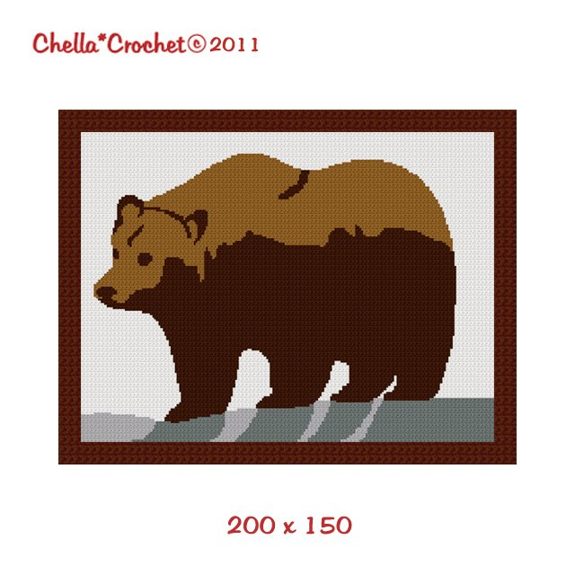 Listing Tools     Edit     Copy  Chella Crochet Grizzly Brown Bear Easy Afghan Crochet Pattern Graph