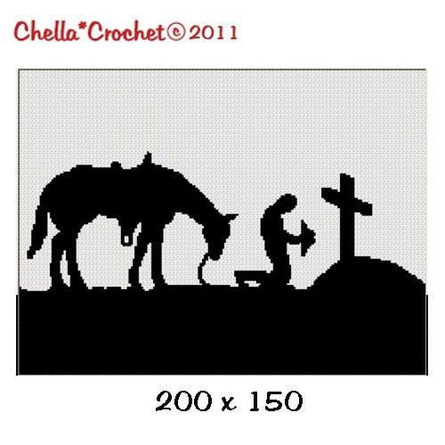 Buy 2 get 1 free Cowboy Praying Horse Cross Afghan Crochet Pattern Graph