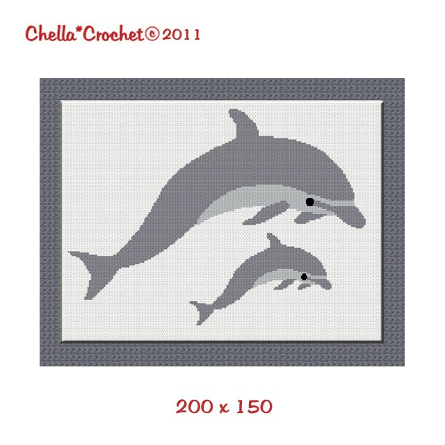 Chella Crochet Dolphin Porpoise Mama Baby Afghan Crochet Pattern