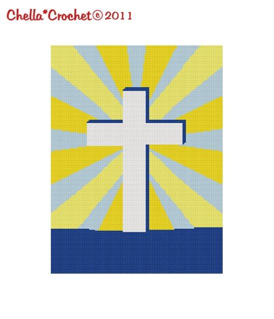 Cross in Suburst Jesus Christian Religious Afghan Crochet Pattern Graph