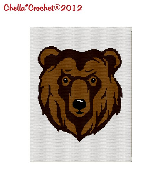 Grizzly Brown Bear Head Afghan Crochet Pattern Graph for Blanket Throw