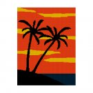 Beautiful Palm Trees on the Beach Sunset Sky Afghan Crochet