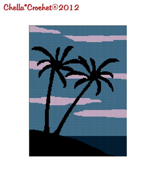 Beautiful Palm Trees on the Beach Evening Sky Afghan Crochet Pattern