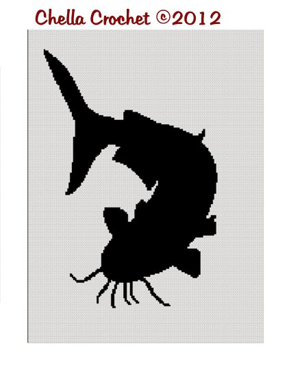 Catfish Flathead Fishing Noodling Silhouette Afghan Crochet Pattern Graph