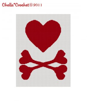 BUY 2 GET 1 FREE Chella Crochet  Large RED Heart Crossbones Crochet Pattern Graph for Afghan