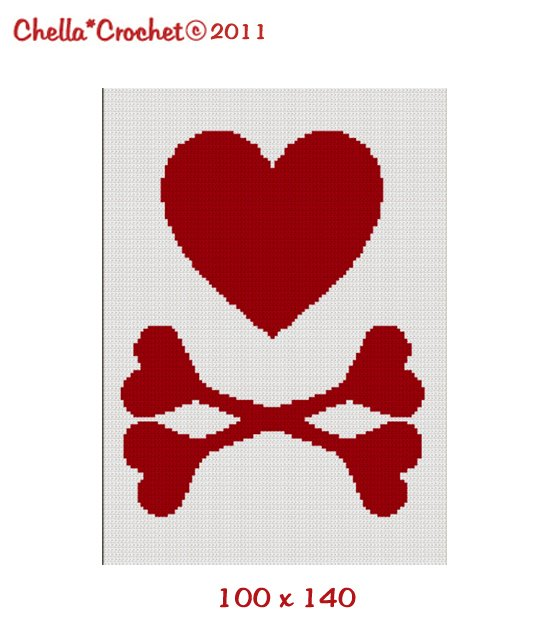 BUY 2 GET 1 FREE Chella Crochet FOR BABY 100ST RED Heart Crossbones Crochet Pattern Graph for Afghan