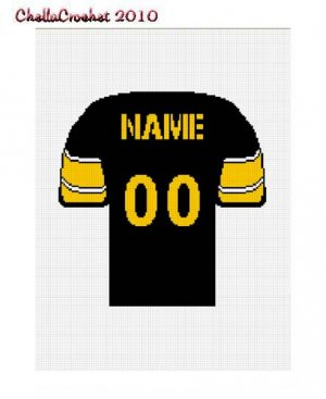 Football Jersey Black Gold Yellow Pattern Afghan Graph Chart. .PDF