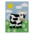 Cow in the Meadow Daisies Daisy Crochet Afghan Pattern Graph 150st