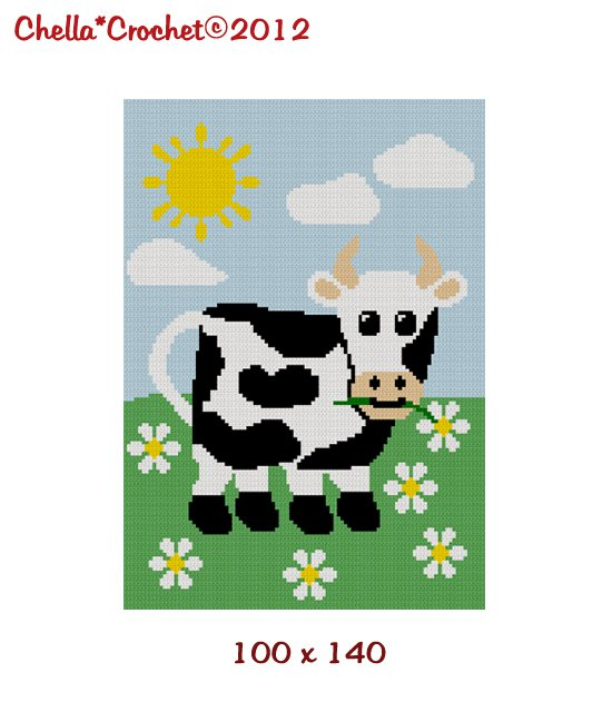 Chella Crochet Baby Cow in the Meadow Daisies Daisy Crochet Afghan Pattern Graph 100 by 140