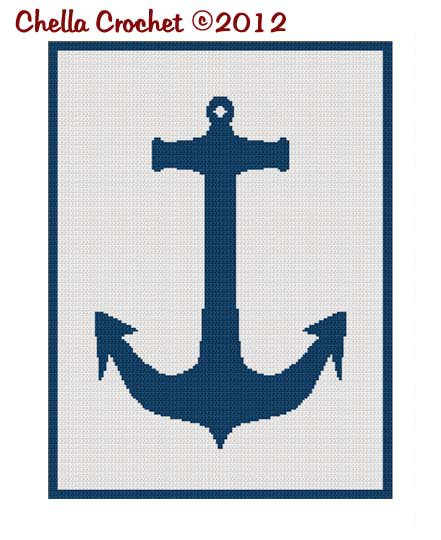 Chella Crochet Navy Naval Nautical Anchor Silhouette Afghan Crochet Pattern Graph