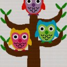 Colorful Owls in Tree Blanket Afghan Crochet Knit Cross Stitch Pattern Graph