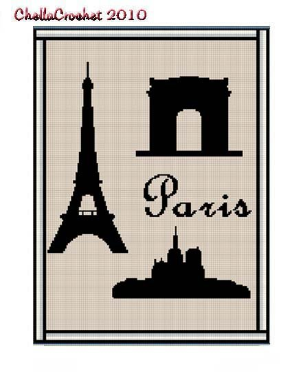 Crochet Pattern Eiffel Tower Arc de Triumph Notre Dame Silhouette Afghan Pattern Graph Cross Stitch