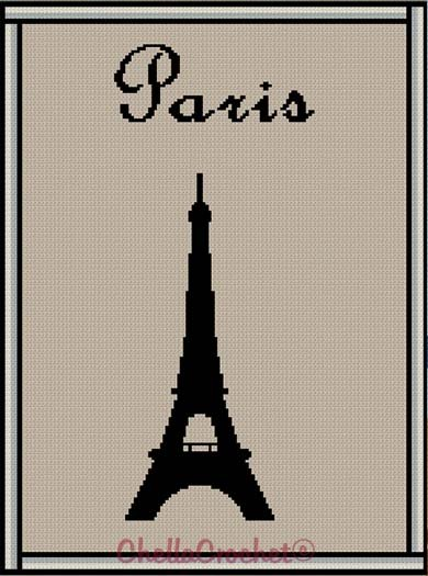 Crochet Pattern Eiffel Tower Silhouette Afghan Pattern Graph Cross Stitch