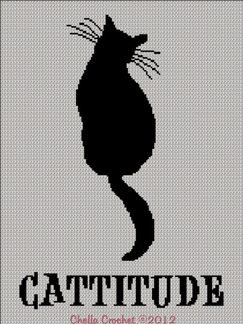 Cattitude Cat with an Attitude Afghan Crochet Knitting Cross Stitch Pattern Graph