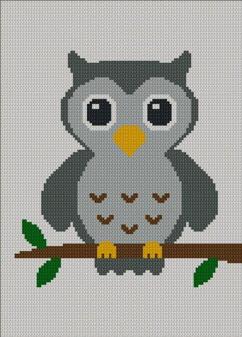Easy Too Cute Gray Baby Owl Crochet Knit Cross Stitch
