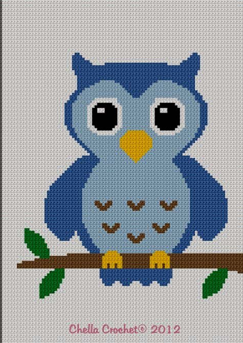 Easy Too Cute Blue Baby Owl Crochet Knit Cross Stitch Afghan Pattern Graph