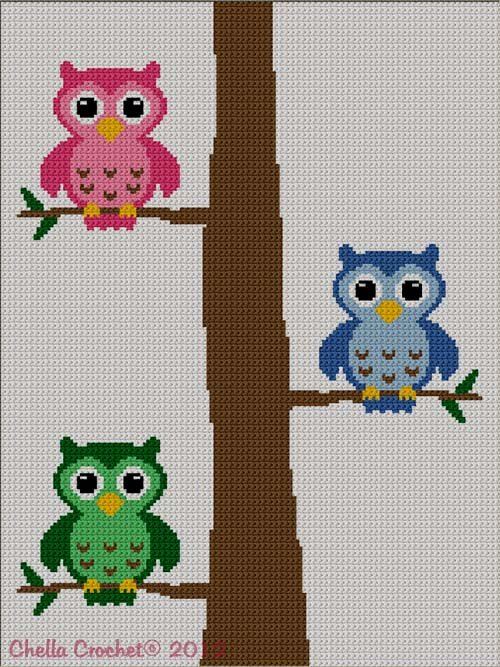 Colorful Owls in Tree Number 2 Afghan Crochet Knit Cross Stitch Pattern Graph